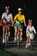 Family bicycling; Actual size=130 pixels wide